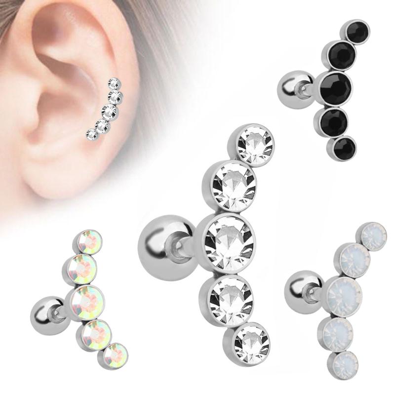 Stainless Steel Barbell Ear Cartilage Tragus Helix Stud Bar Earrings Piercing  B