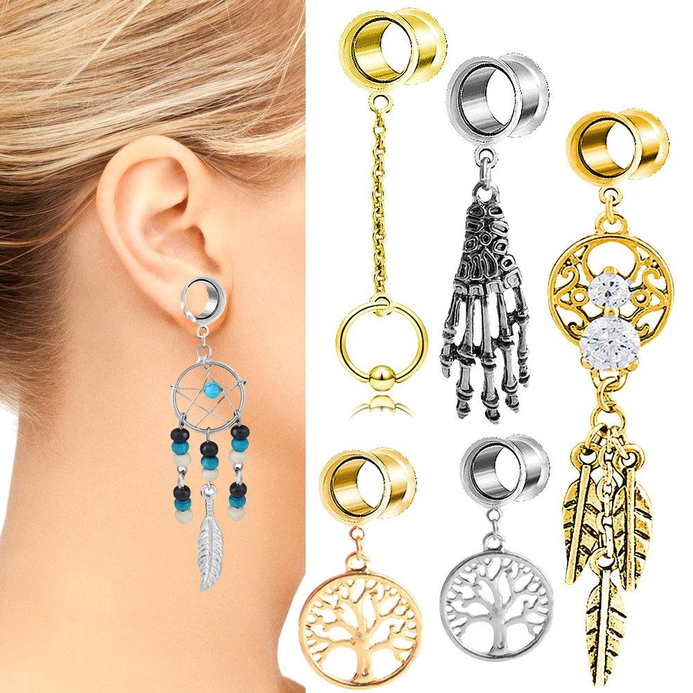 GOLD Steel Screw Ear Flesh Tunnels Piercing Stretchers Jewellery Flared TU96