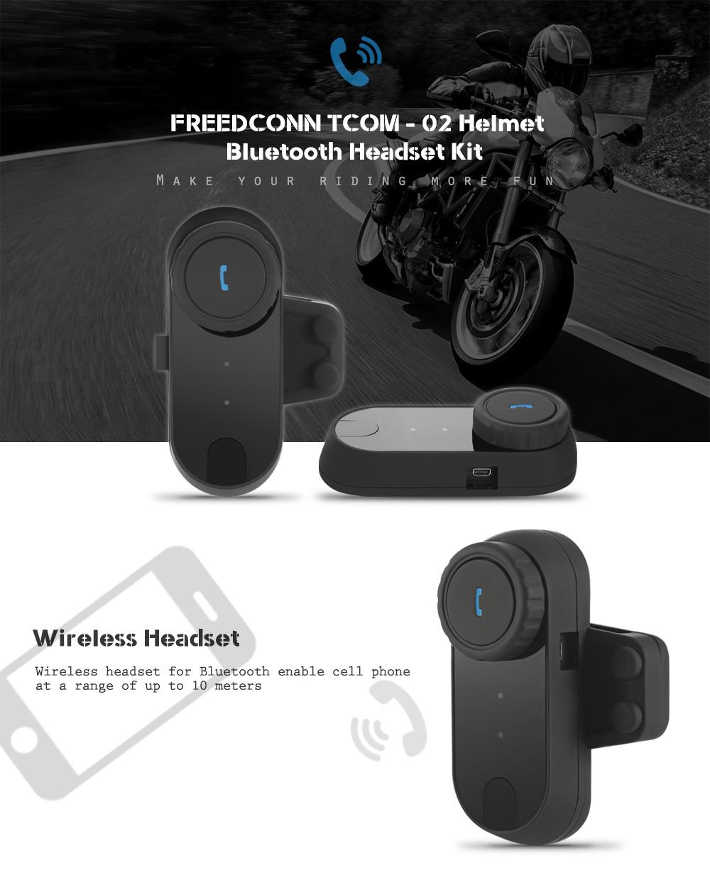 2x Freedconn TCOM-02 BT Motorcycle Helmet Bluetooth Headset Stereo  Music MP3