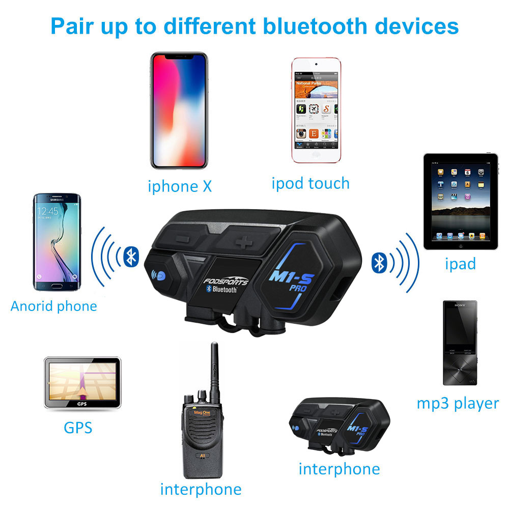 2000m Motorcycle Helmet Intercom Bluetooth Headset 8 Riders Communication System