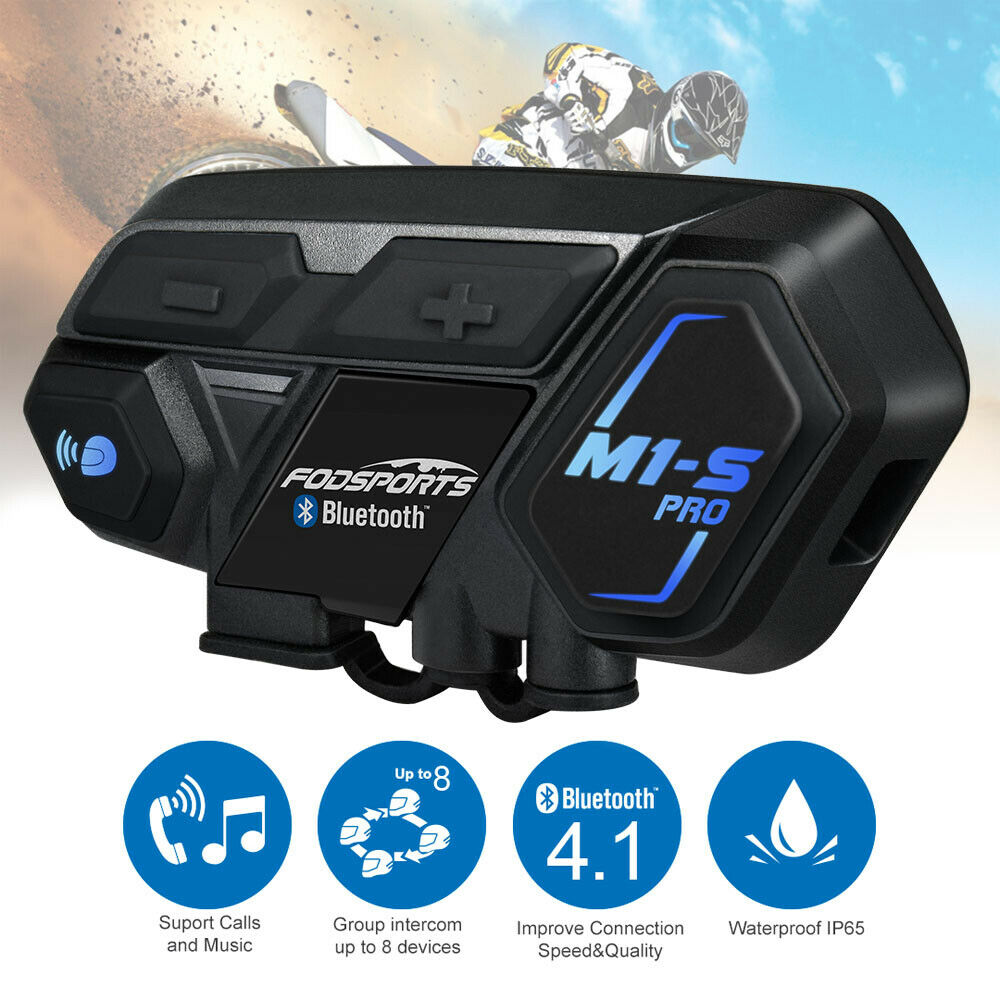 Details about M1 S 2000M Motorcycle Helmet Intercom Bluetooth V4.1 Interphone Headset 8 Riders