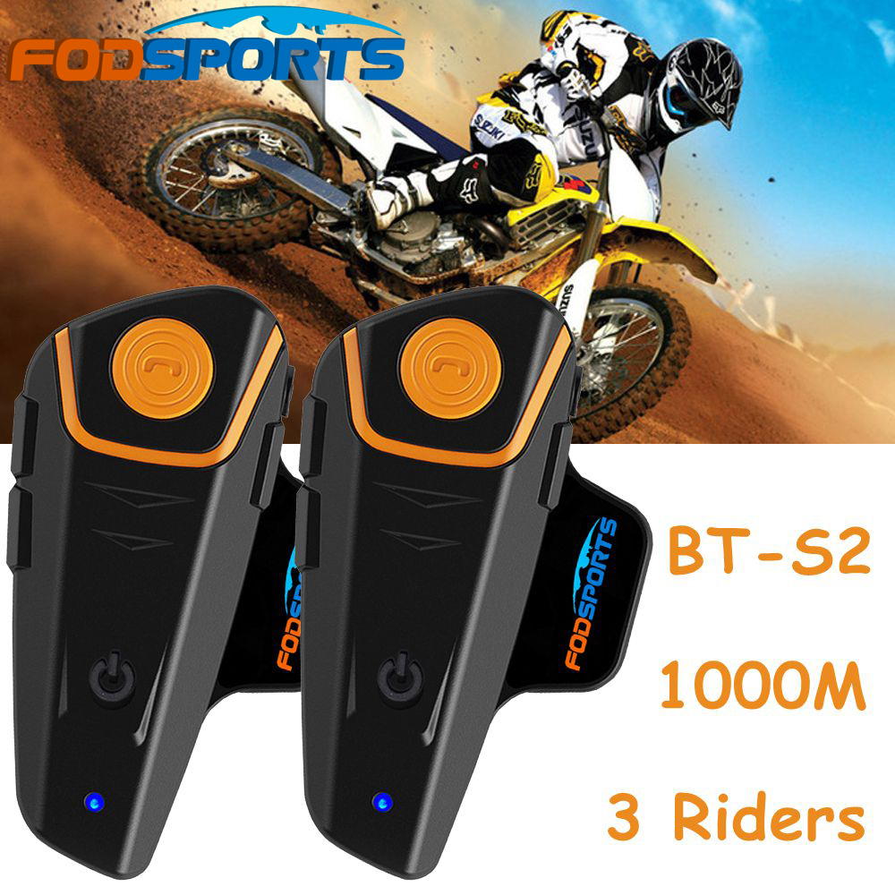 2x BT-S2 1000M Motorcycle Bluetooth Helmet Intercom Headset Communication System