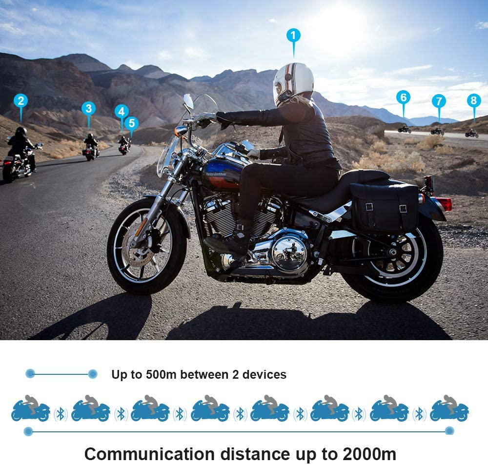 2000M BT Motorcycle Helmet Intercom Interphone Bluetooth Communication System FM
