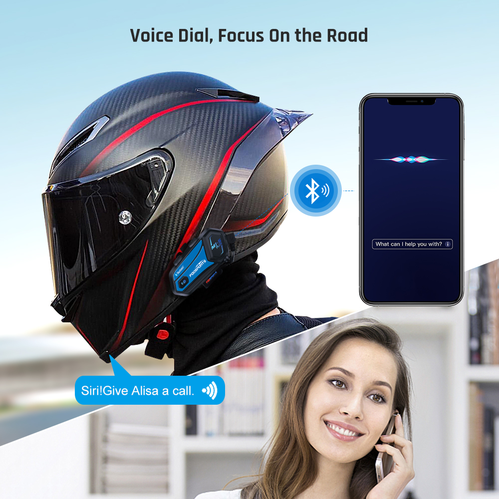 2x Motorcycle Helmet Intercom Bluetooth Headset 8 Riders FM Communication System