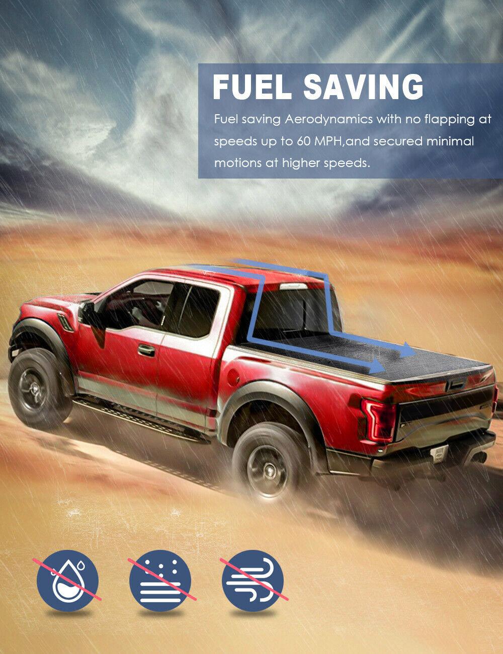 ::Truck Bed Tonneau Cover 4-FOLD 6.5FT For 2014-2019 Chevy Silverado / GMC Sierra
