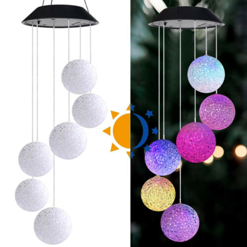 more photos 4b62c 62573 Details about Colour Changing Hanging Wind Chimes Solar Powered LED Ball  Lights Garden Outdoor