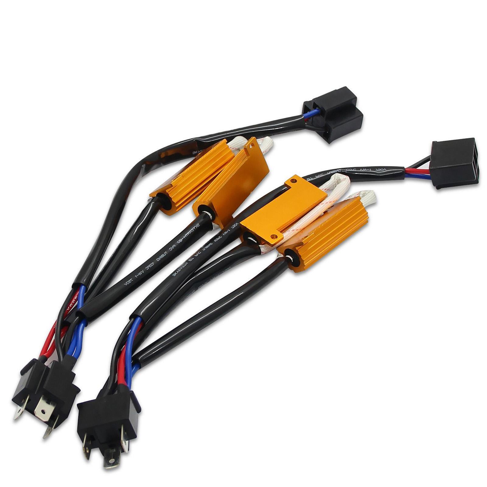 2x H4 HB2 9003 LED HID Conversion Kit Error Free Load Resistors Wiring harness
