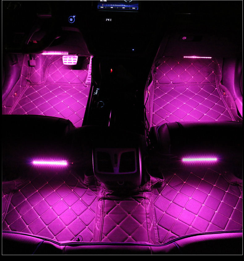 "A1 4x 12/""//30cm Music Sensor RGB LED Interior Light Trips W// Wireless Control Box"