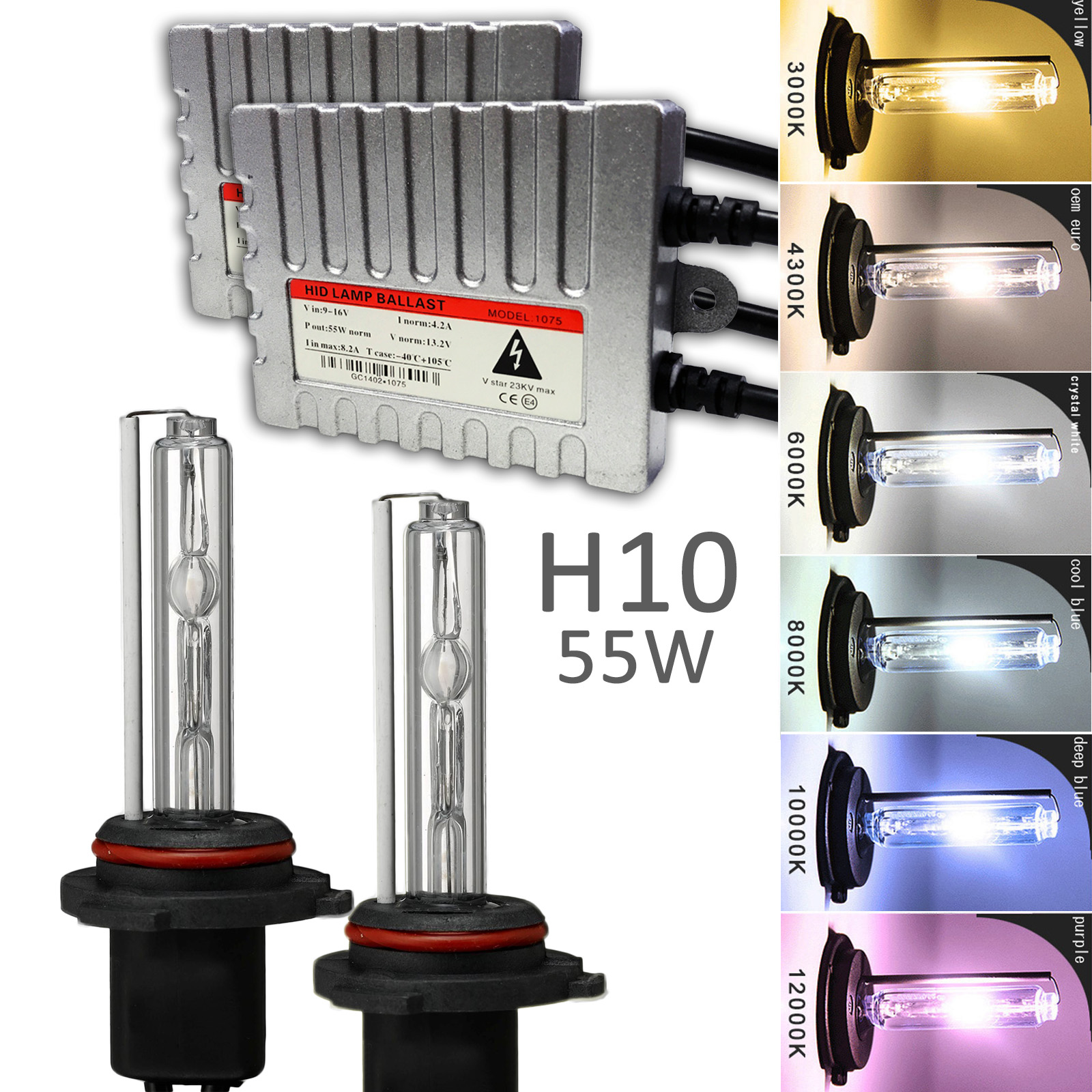 Innovited 55W AC Xenon HID LightsAll Bulb Sizes and Colors with Digital Slim Ballast Diamond White H10 9145 9140-6000K 2 Year Warranty
