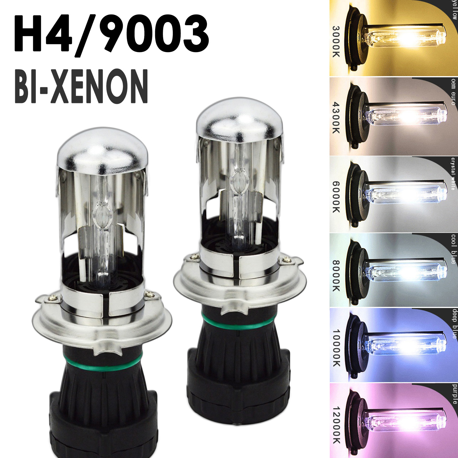 - 2 Year Warranty 1 Pair HID-Warehouse HID Xenon Replacement Bulbs H4 // 9003 30000K Deep Blue