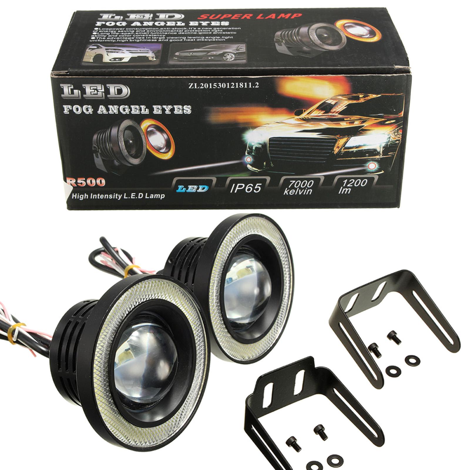 Pair White Angel Eyes Halo Car Fog Lights Lamp Projector DRL COB LED Bulbs