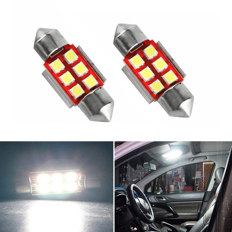White 36mm Car Bulbs 5050 SMD 3 LED Festoon Dome Lights Fuse 12V DC 6 Piec 2A 2X