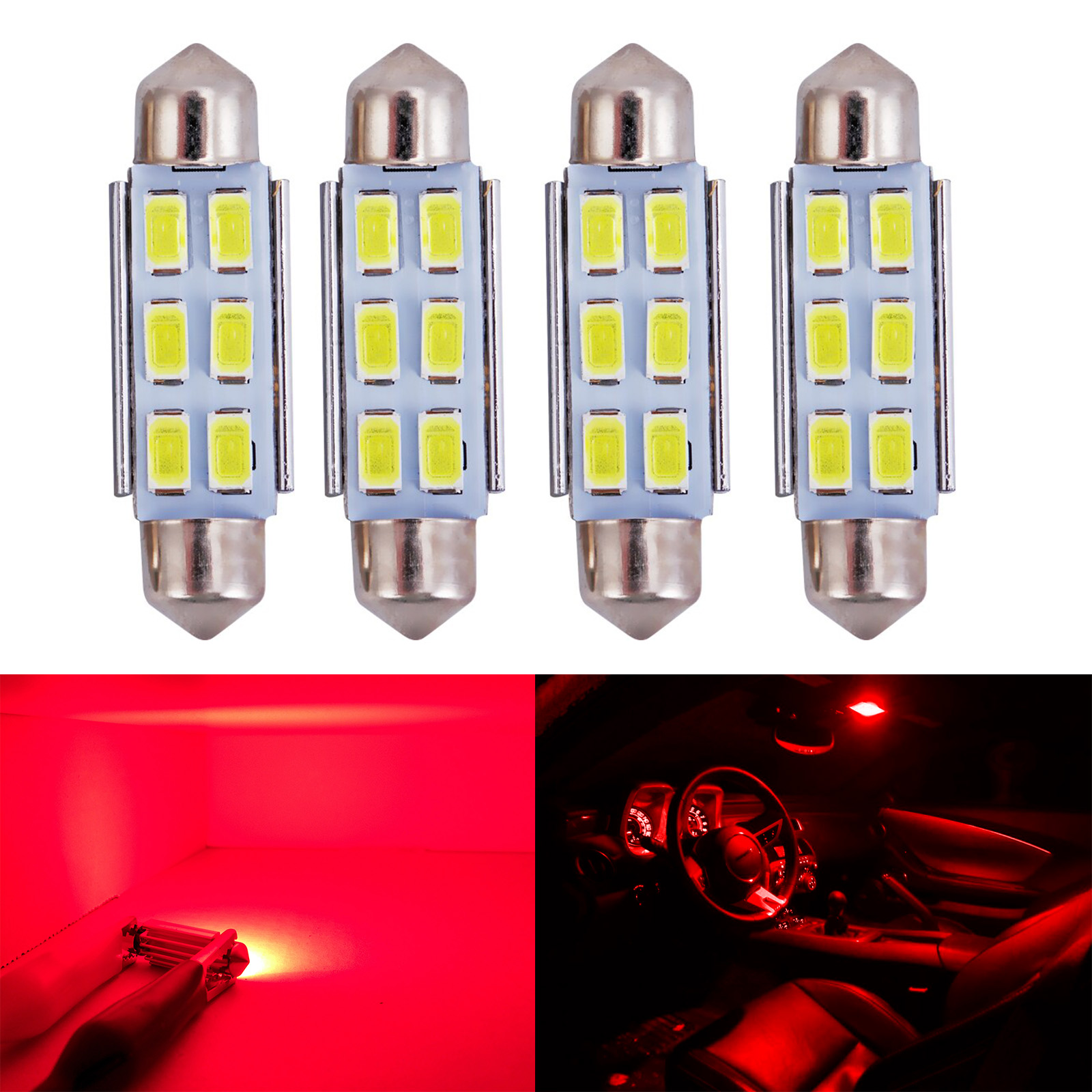 4x 31mm 4 SMD Red LED Festoon Dome Map Glove Box Trunk Replacement Light Bulb
