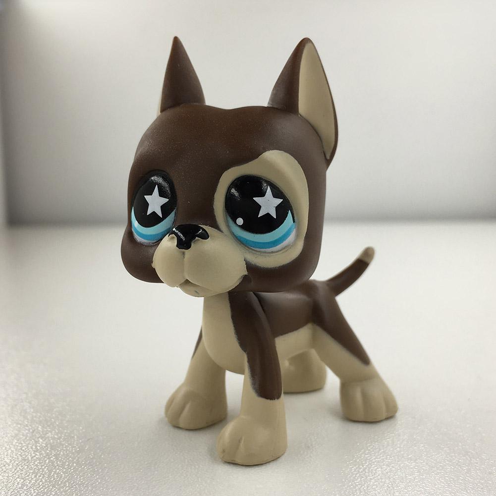 Hasbro LPS 817 Littlest Pet Shop Chocolate Great Dane Dog Blue Star Eyes Puppy