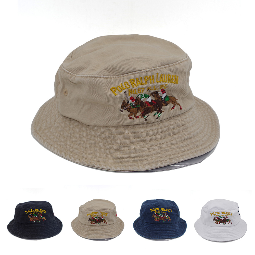 345b18c0a Embroidery Bucket Hat Polo Casual Flat Basin Cap Three Colors Pony ...