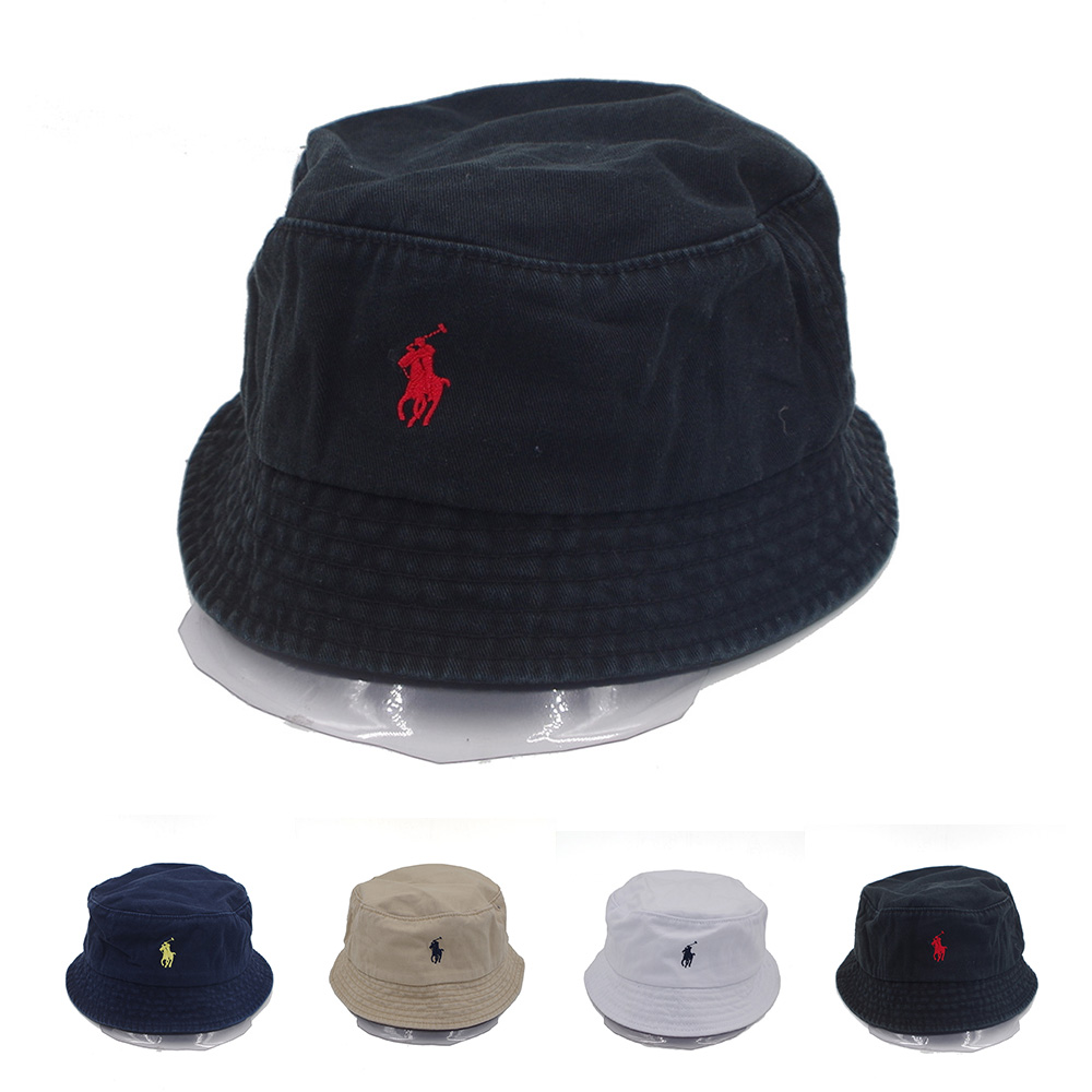 75d1b6ef Details about Bucket Hat Polo Casual Flat Basin Cap Cotton Small Pony For  Outdoor Unisex Sport