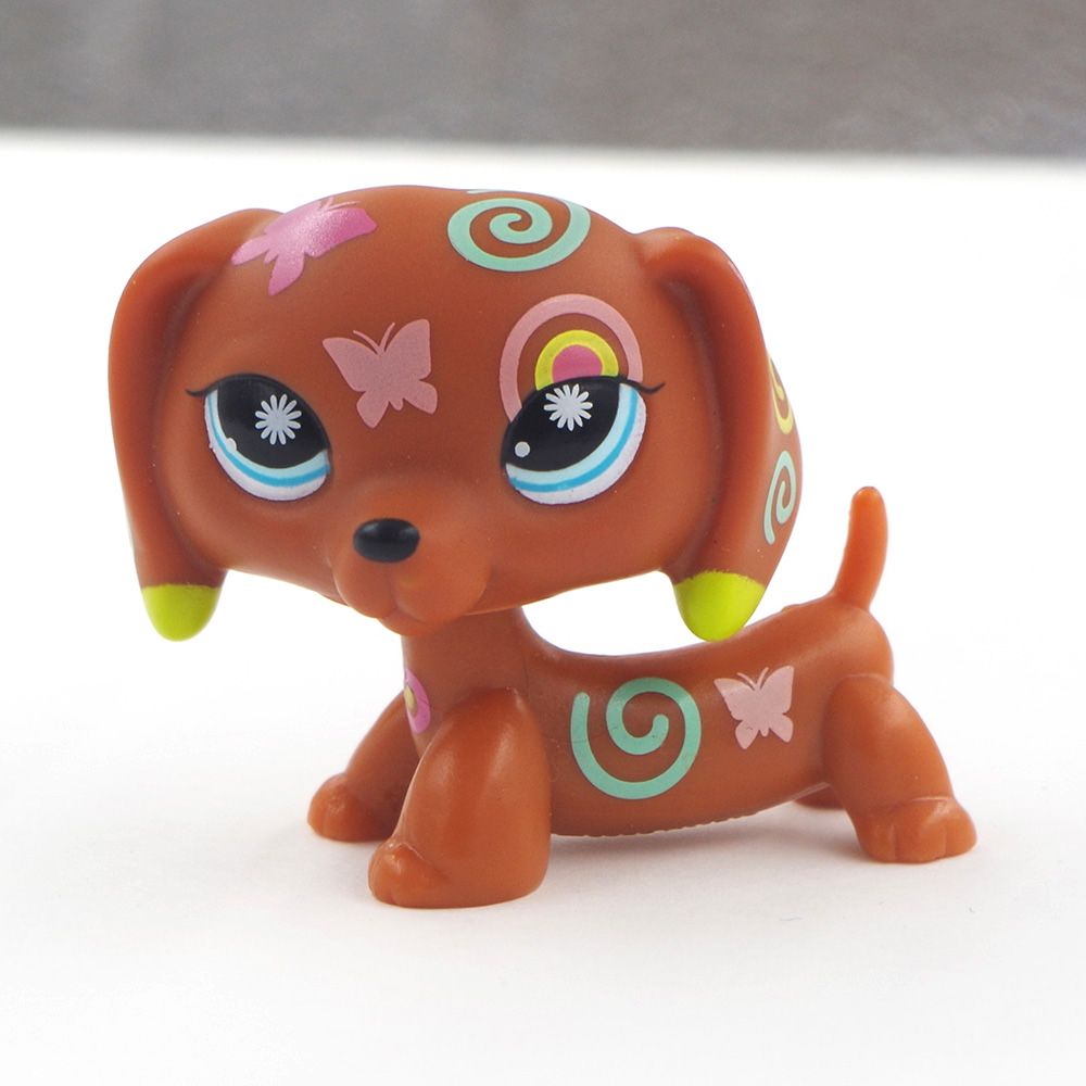 Details about  /LPS Toys Rare Pet Shop BLACK dachshund DOG Flower EYES Hand Painted
