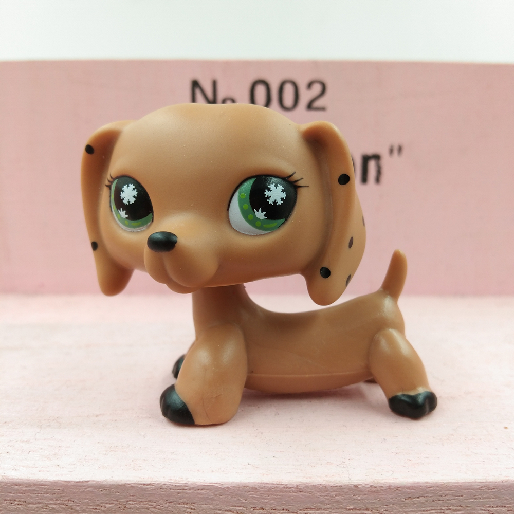 """2/"""" Girl toy Littlest Pet Shop LPS Snowflake Eyes Brown Monopoly Dachshund Dog"""