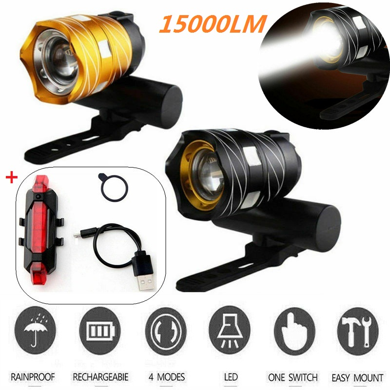 LED USB Wiederaufladbare  T6 Fahrrad Licht Scheinwerfer Frontlicht Rücklicht DE