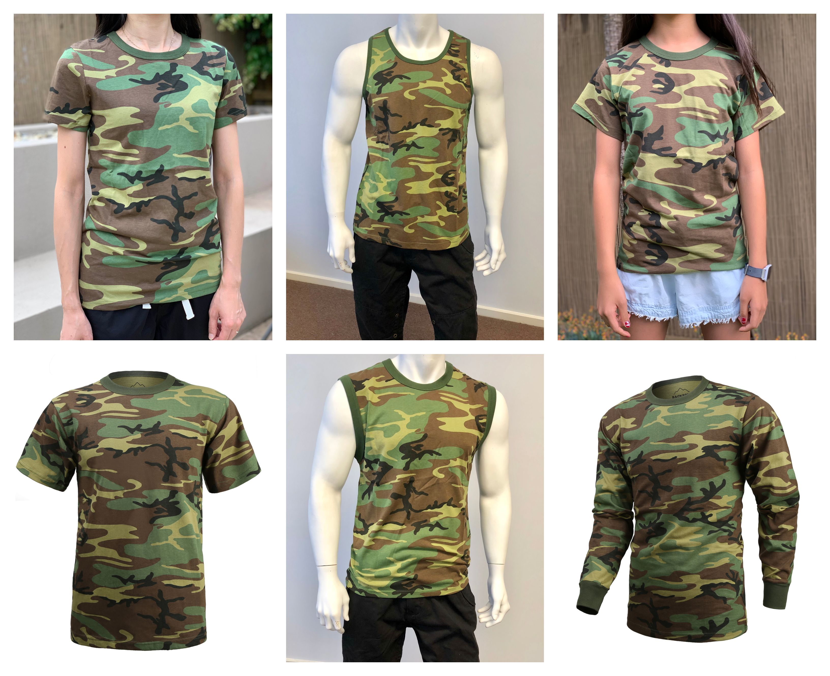 Boys Girls Kids Teens Army Military Training Scout Camp Outdoor Camo T-Shirt Tee