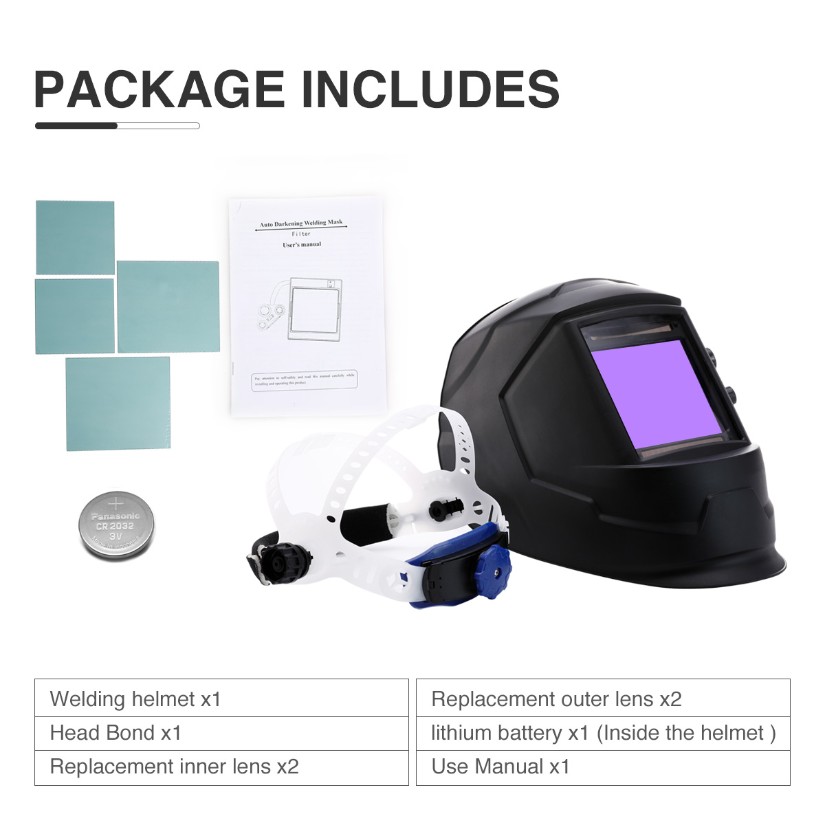 Auto Darkening Welding Helmet Large View Area Pro Solar Welder Mask Li Battery