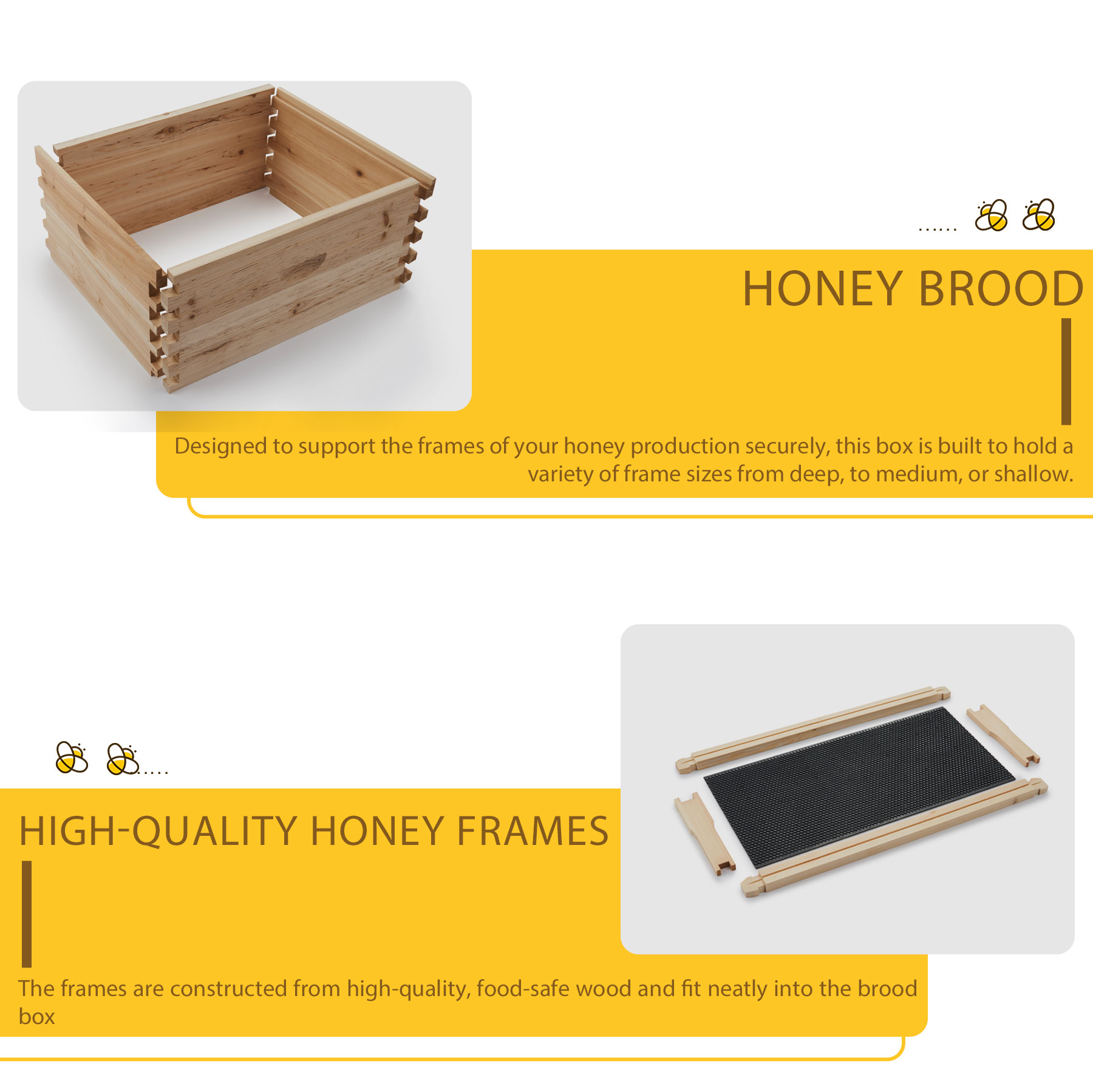 Single Layer 10-Frame Deep Size Beekeeping Kit Bee Hive House Frame