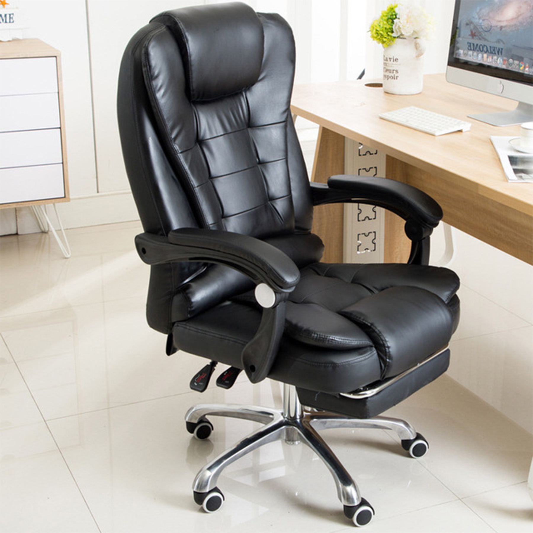 Details about Ergonomic Office Chair Massage Reclining Computer Gaming  Chair w/ Footrest