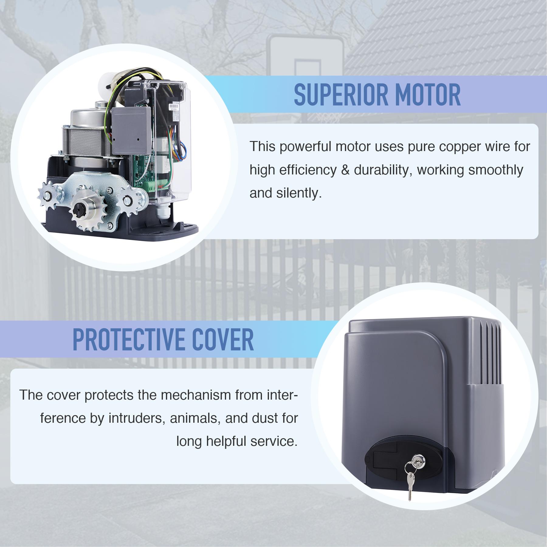 Smart 380w Sliding Gate Opener With Infrared Sensors