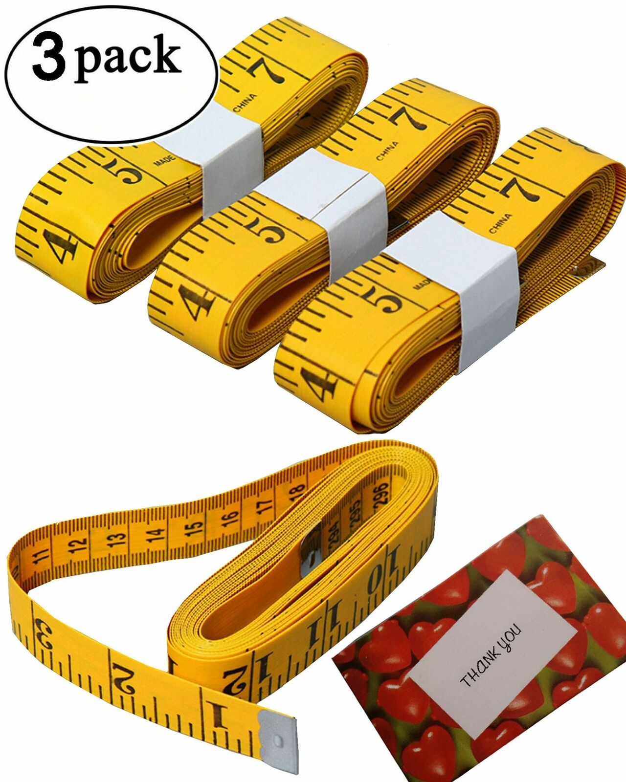 3 Pack 120-Inch Extra Long Soft Tape Measure for Sewing Tailor Cloth Ruler