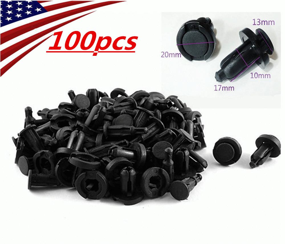 100pcs 10mm Hole Clips Plastic Push Type Rivet Retainer Fastener Bumper Pin Car