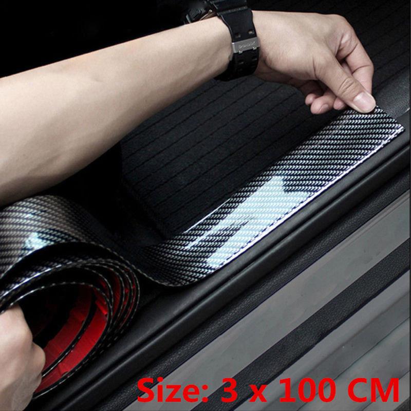 for Chevrolet Volt Door Sill Protector Reflective 4D Carbon Fiber Sticker Door Entry Guard Door Sill Scuff Plate Stickers Auto Accessories 4Pcs White