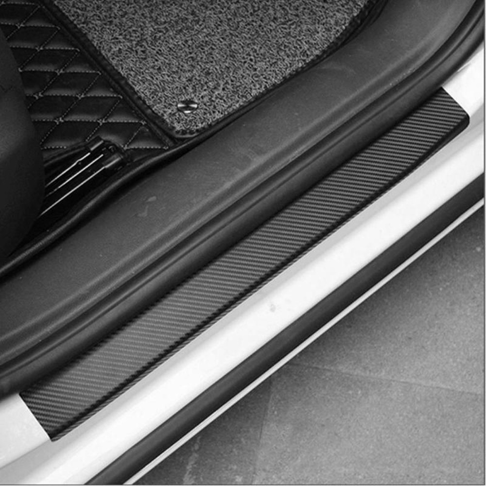 Car Accessories Door Sill Scuff Pedal Threshold Carbon Fiber Protect Stickers X4