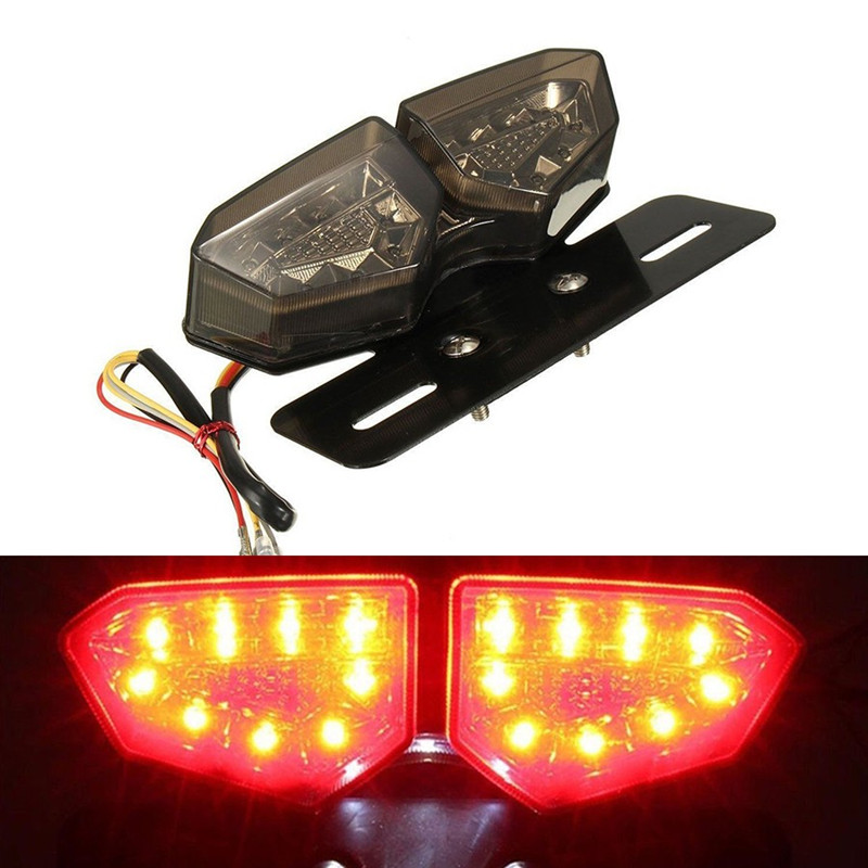 Smoke LED Motorcycle Turn Signal Brake License Plate Integrated Tail Light 12V