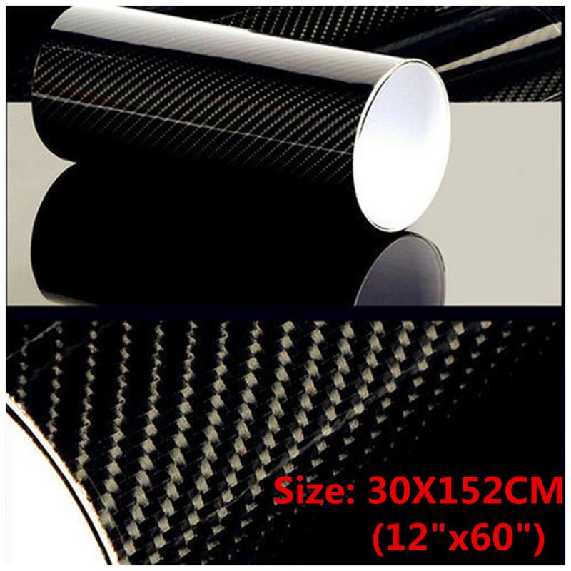 5D High Gloss Carbon Fiber Vinyl Wrap Roll Bubble Free Air Release Decal Sticker