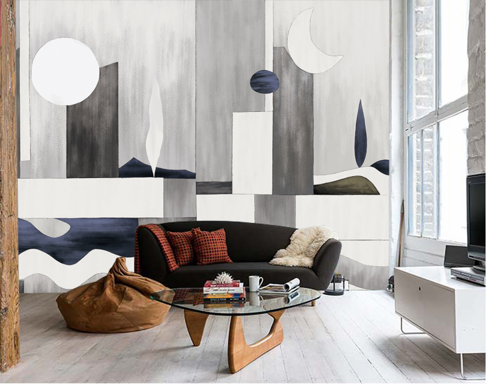 Geometric Abstract Removable Wall Mural Paper Sticker Wallpaper Decor Art Gift Ebay