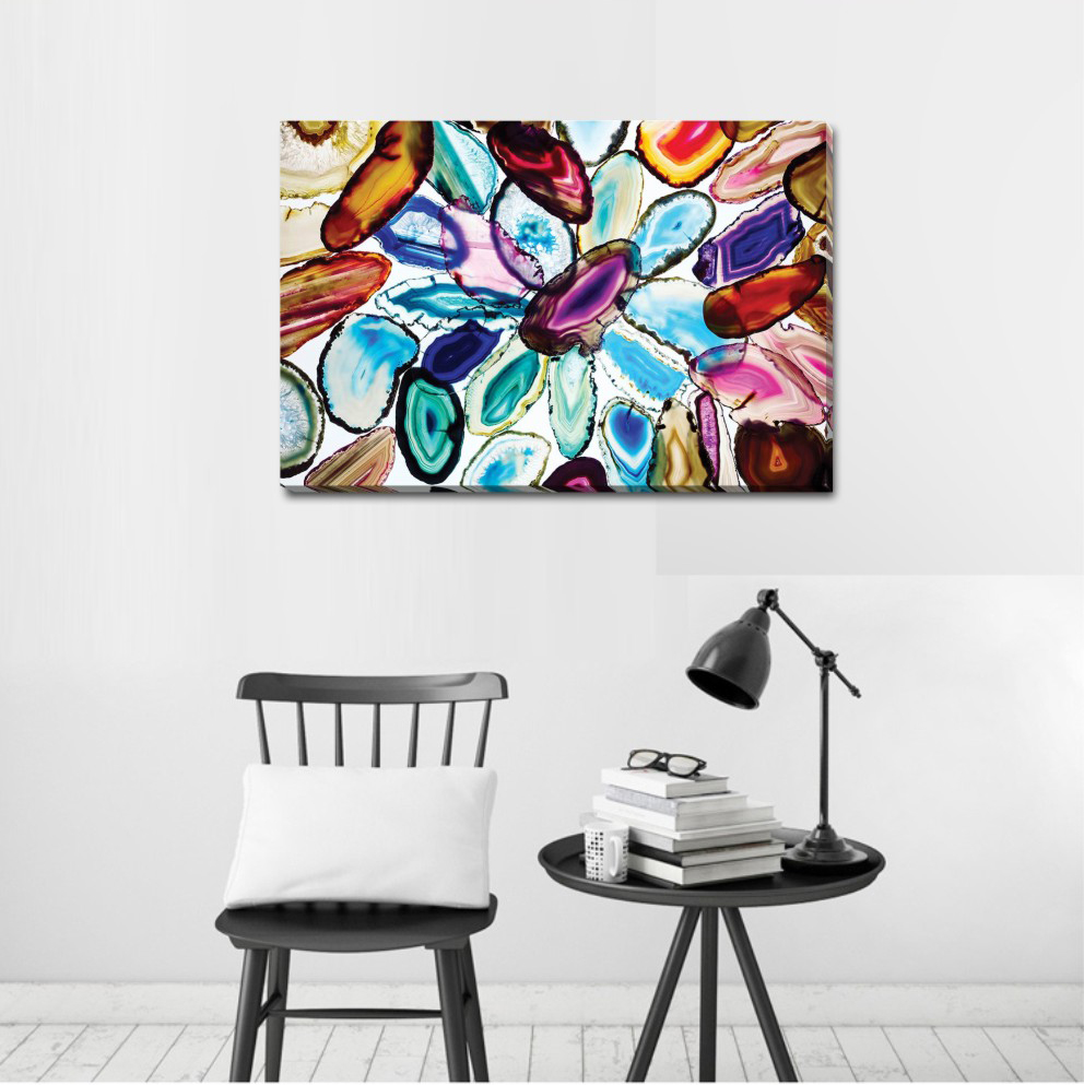 Colour Pattern Stretched Canvas Print Framed Wall Art Home Office Shop Decor DIY