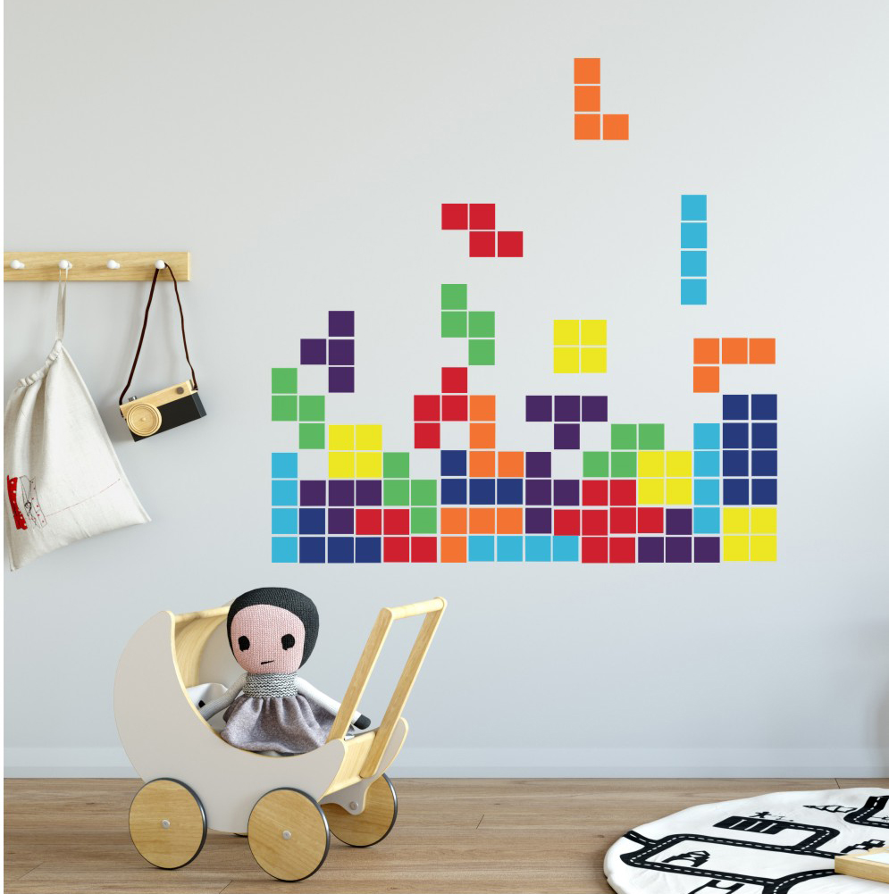 Tetris Game Retro Wall Sticker Home Decor Bedroom Living Room Kitchen Decal