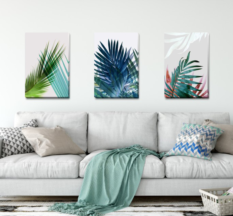 tropical home decor australia set of 3 tropical leave stretched canvas print framed wall art  stretched canvas print framed wall art