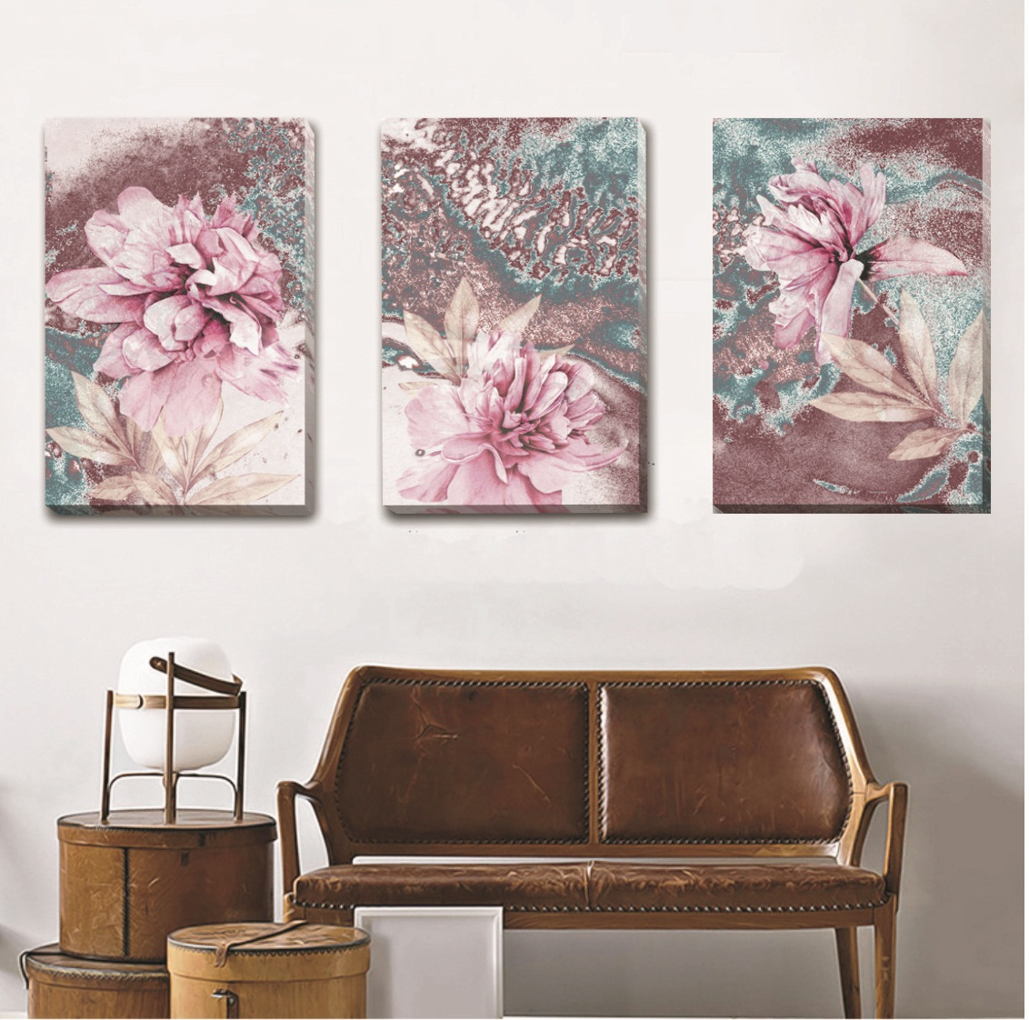 Set Of 3 Pink Flowers Stretched Canvas Print Framed Wall Art Home Decor Gift F85 Ebay