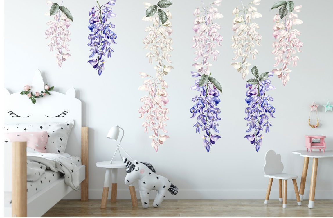 Large Wisteria Flower Decal Wall Stickers Kids Baby Cot Girls Nursery Decor Art