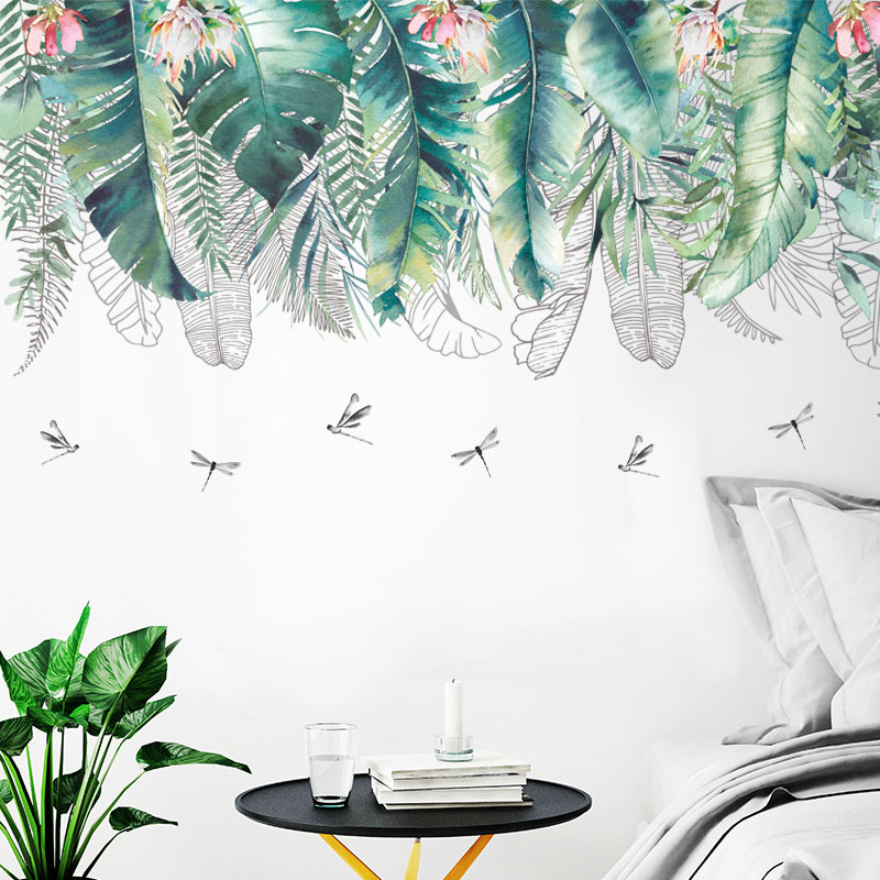 tropical home decor australia tropical leaves dragonflies wall stickers home decor art mural  wall stickers home decor art mural