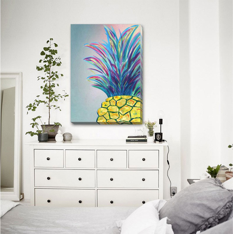 Pineapple Fashion Stretched Canvas Print Framed Home Office Wall Decor F136