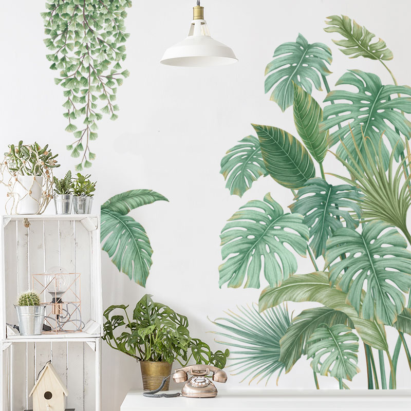 Tropical Leaves Plant Wall Stickers Vinyl Decal Nursery Decor Art Mural Gift Ebay Tropical leaf bathroom wall decor. details about tropical leaves plant wall stickers vinyl decal nursery decor art mural gift