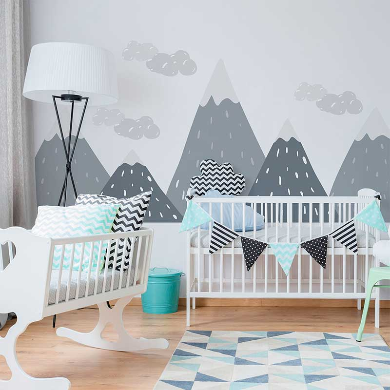 Mountain Wall Sticker Kid Nursery Decal Decor Green Gray Mix Birds Art DIY Mural