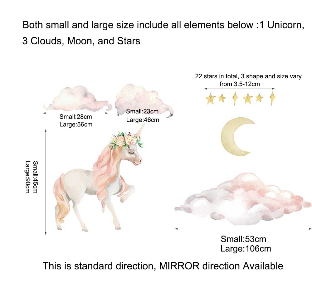 Dreaming Unicorn Wall Stickers Floral Nursery Decal Baby Cot Decor Kid Art Mural