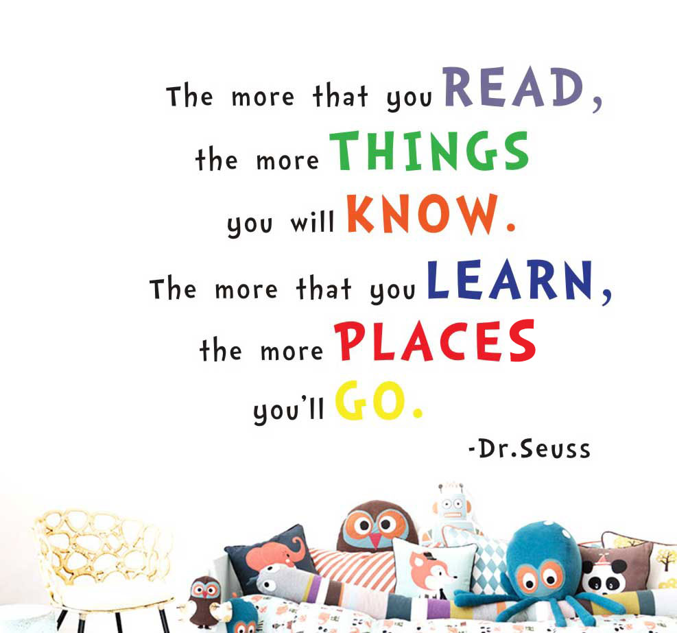"""The more you read"" Dr Seuss Quote Wall Sticker Nursery Baby Decor Kids Decal"