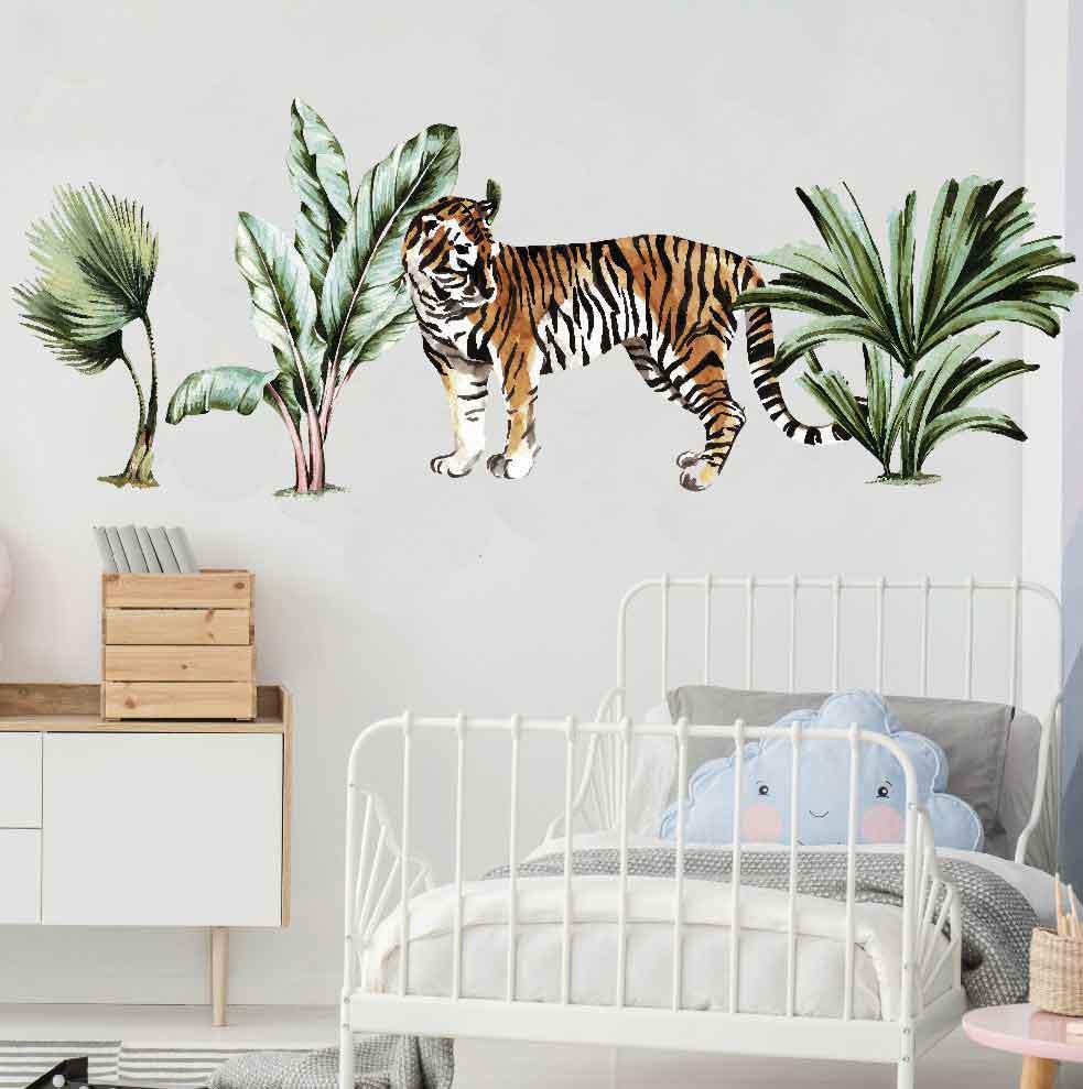 Jungle Plant Animals Kids Wall Stickers Baby Room Decor Nursery Decal Tiger Art