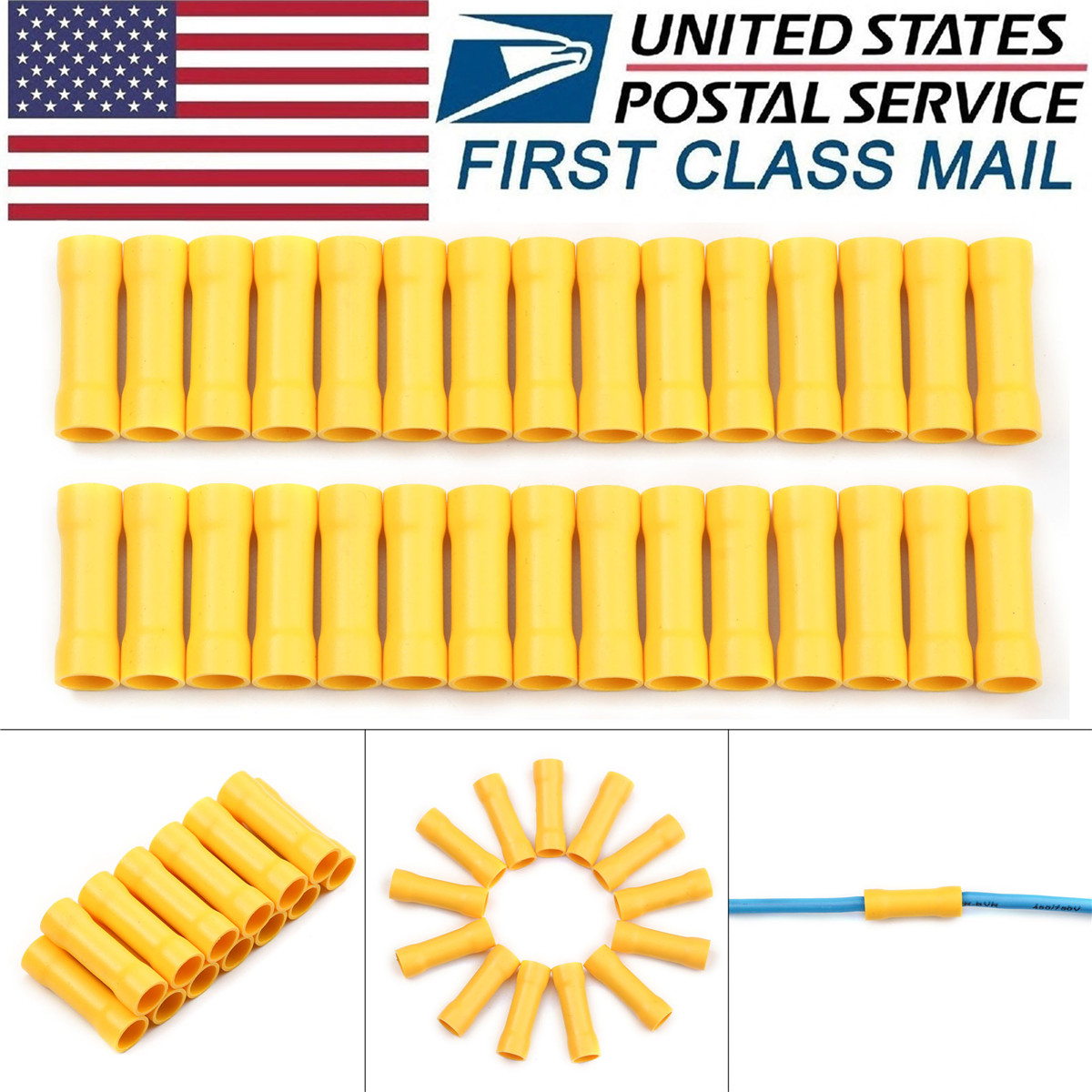 100 Pcs 12-10 GAUGE VINYL FULLY INSULATED COPPER BUTT CONNECTORS YELLOW