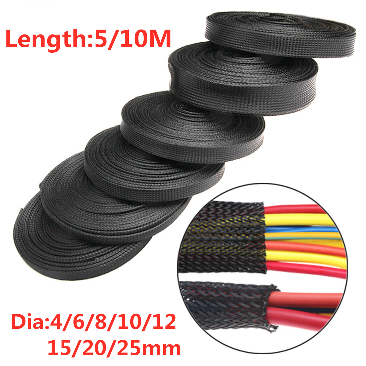 details about 5 10m 4 25mm braided sleeving braid cable wiring harness loom protection black Stereo Wiring Harness Color Codes
