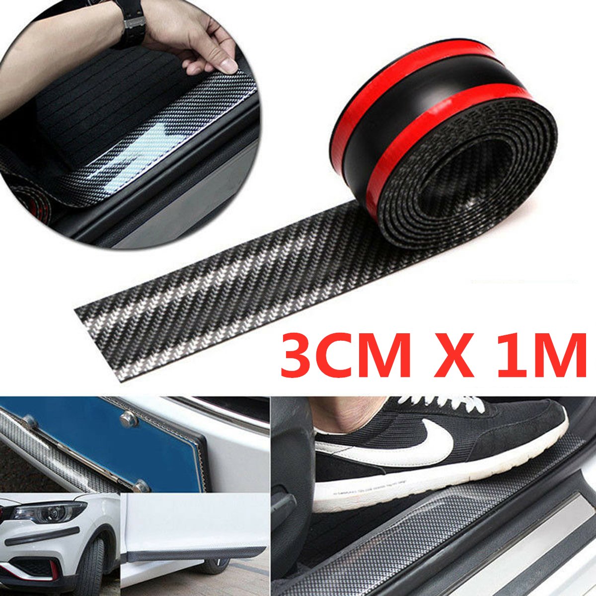 Car 3CM*1M Carbon Fiber Rubber Edge Guard Strip Door Sill Protector Accessories